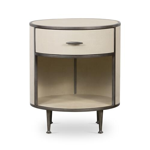Brushed Gunmetal Finish Shagreen Round Nightstand