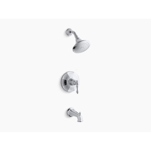 Kohler - Polished Chrome Rite-temp Bath and Shower Valve Trim With Lever Handle, Spout and 2.5 Gpm Showerhead