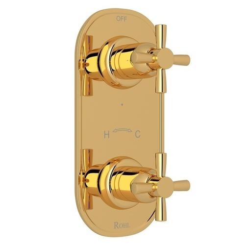 "English Gold Perrin & Rowe Holborn 1/2"" Thermostatic/Diverter Control Trim with Holborn Cross Handle"