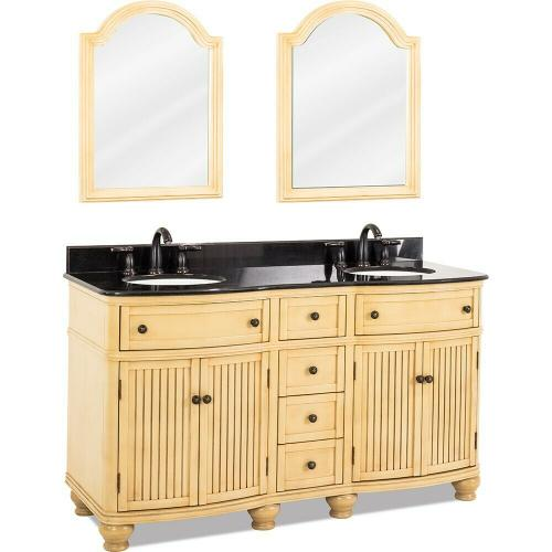 """60-1/2"""" double Buttercream vanity with Antique Brushed Satin Brass hardware, bead board doors, curved front, and preassembled Black Granite top and 2 oval bowls"""