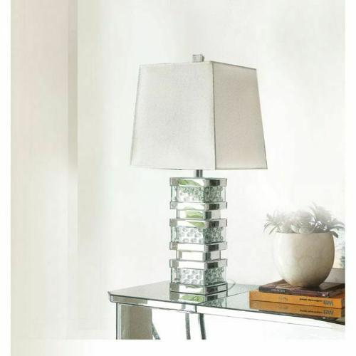ACME Nysa Table Lamp - 40217 - Mirrored & Faux Crystals