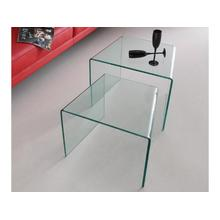 The Angolo End Table Set In Clear Bent Glass
