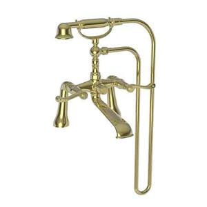 Uncoated Polished Brass - Living Exposed Tub & Hand Shower Set - Deck Mount