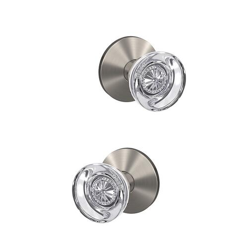 Custom Hobson Glass Knob with Kinsler Trim Hall-Closet and Bed-Bath Lock - Satin Nickel
