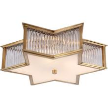 View Product - Alexa Hampton Sophia 3 Light 17 inch Natural Brass with Clear Glass Flush Mount Ceiling Light in Natural Brass and Clear Glass
