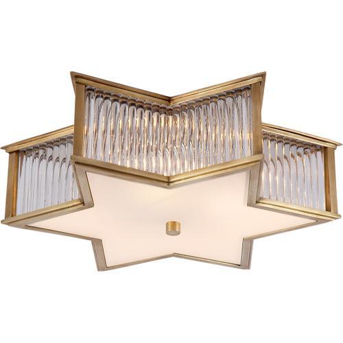 Visual Comfort - Alexa Hampton Sophia 3 Light 17 inch Natural Brass with Clear Glass Flush Mount Ceiling Light in Natural Brass and Clear Glass