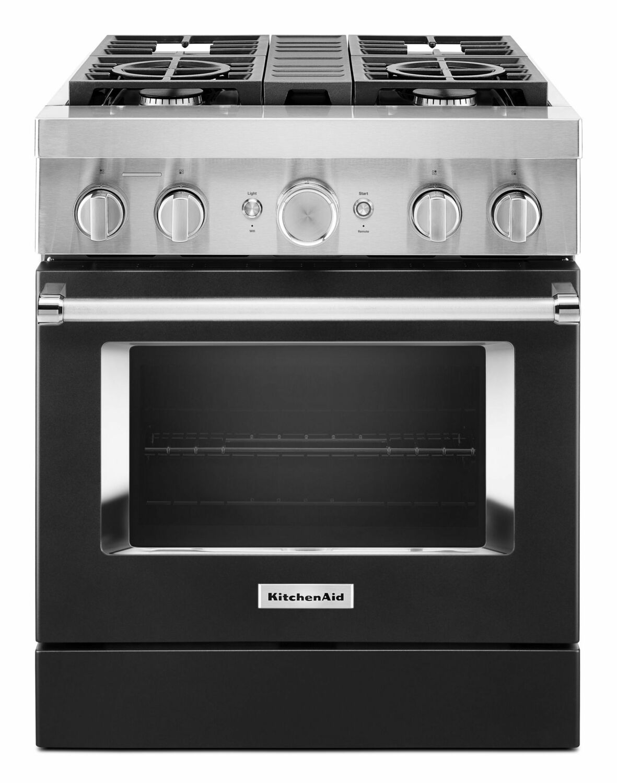 KitchenaidKitchenaid® 30'' Smart Commercial-Style Dual Fuel Range With 4 Burners - Imperial Black