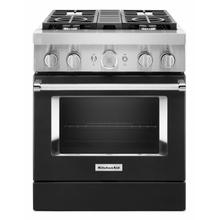 See Details - KitchenAid® 30'' Smart Commercial-Style Dual Fuel Range with 4 Burners - Imperial Black