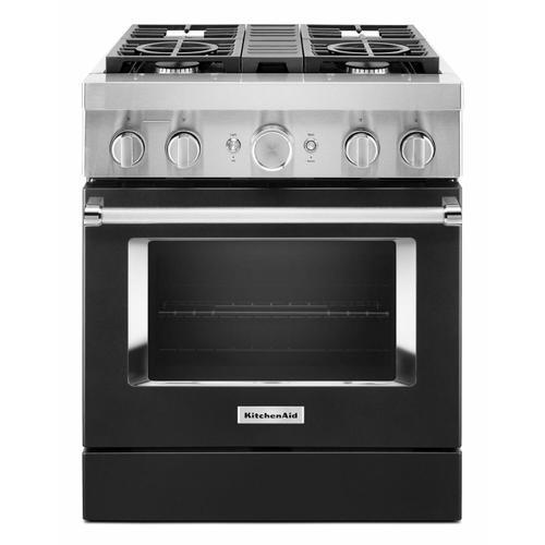 KitchenAid - KitchenAid® 30'' Smart Commercial-Style Dual Fuel Range with 4 Burners - Imperial Black