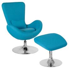 See Details - Aqua Fabric Side Reception Chair with Ottoman