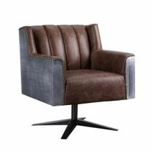 ACME Brancaster Executive Office Chair - 92553 - Retro Brown Top Grain Leather & Aluminum