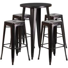 24'' Round Black-Antique Gold Metal Indoor-Outdoor Bar Table Set with 4 Square Seat Backless Stools