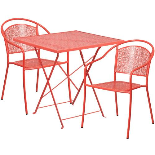 28'' Square Coral Indoor-Outdoor Steel Folding Patio Table Set with 2 Round Back Chairs