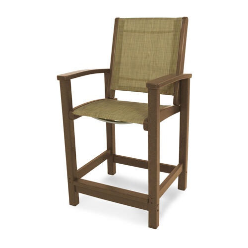 Teak & Burlap Coastal Counter Chair