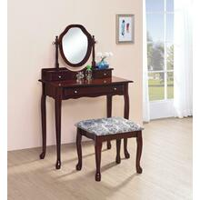 Traditional Brown-red Vanity Set
