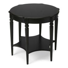 See Details - This elegant table blends classic Old World styling with today's casual sophistication. Crafted from hardwood solids, wood products and birch veneer, it boasts an ample round top with a distinctive lower display shelf in the shape of a six-pointed star joined together by beautifully carved fluted legs.