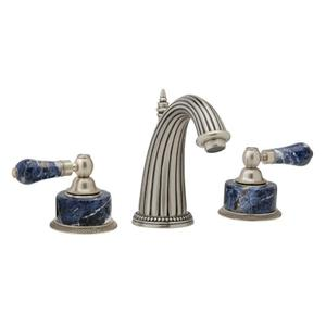 REGENT Widespread Faucet Blue Sodalite K372 - Satin Gold with Satin Nickel