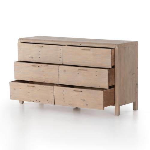 Gyro 6 Drawer Dresser-scrubbed Teak