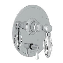 Pressure Balance Trim with Diverter - Polished Chrome with Crystal Metal Lever Handle