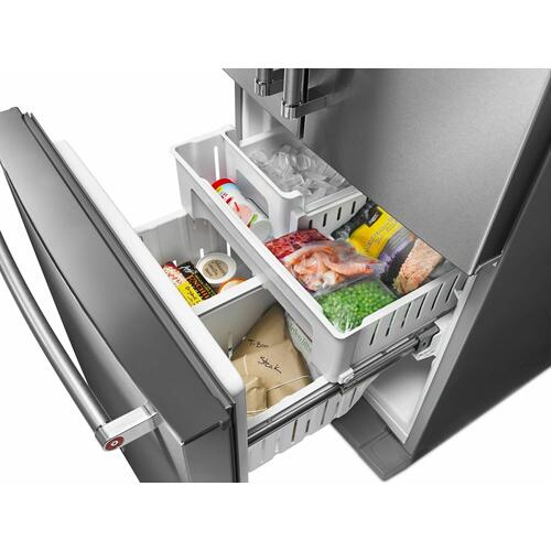KitchenAid - 20 cu. Ft. 30-Inch Width Standard Depth French Door Refrigerator with Interior Dispense - Stainless Steel