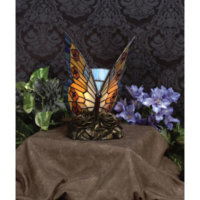 Orange Butterfly Table Lamp in Architectural Bronze