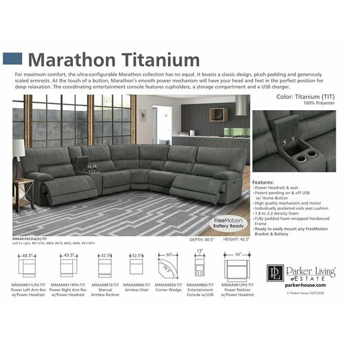 Parker House - MARATHON - TITANIUM Manual Armless Recliner