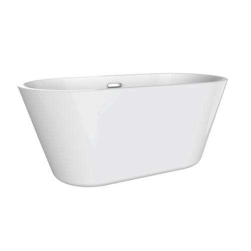"""Product Image - Ogden 55"""" Acrylic Tub with Integral Drain and Overflow - Brushed Nickel Drain and Overflow"""