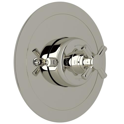 Polished Nickel Perrin & Rowe Holborn Thermostatic Trim Plate Without Volume Control with Holborn Cross Handle