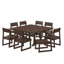 View Product - EDGE 9-Piece Farmhouse Trestle Dining Set in Mahogany