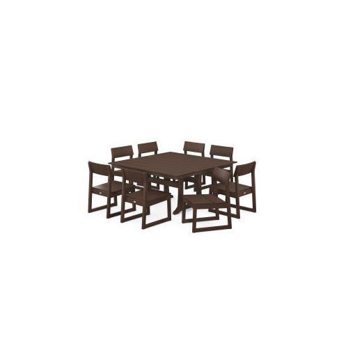 Polywood Furnishings - EDGE 9-Piece Farmhouse Trestle Dining Set in Mahogany