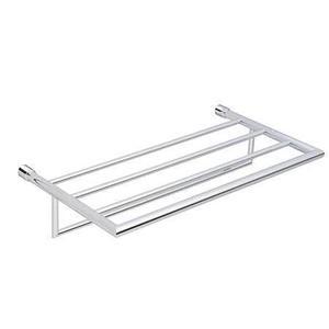 """Polished Chrome 20"""" Hotel Shelf Frame with Towel Bar"""