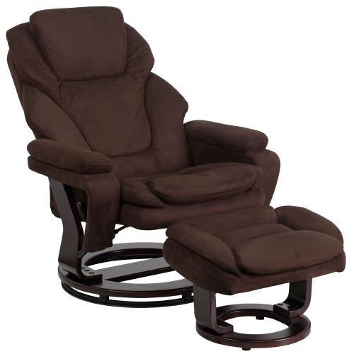 Alamont Furniture - Contemporary Brown Microfiber Recliner and Ottoman with Swiveling Mahogany Wood Base