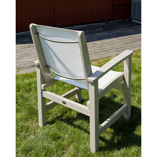 White & Navy Blue Coastal Dining Chair