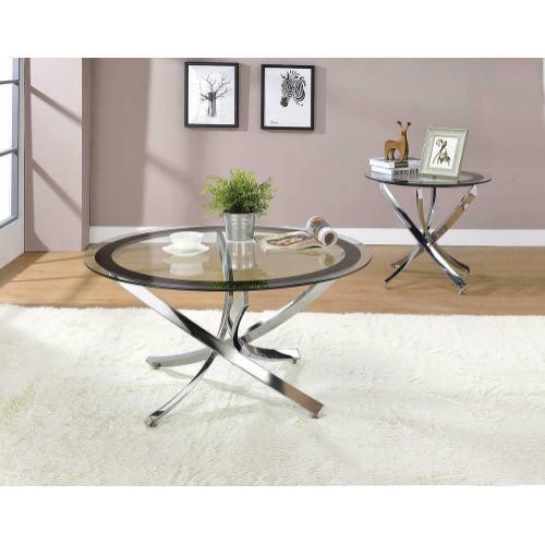 Glass Top Chrome Coffee Table