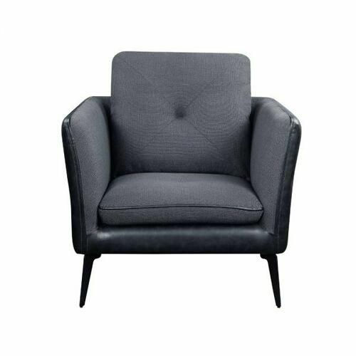 ACME Harun Chair - 51492 - Contemporary - Fabric+PU, Frame: Wood (Ply), Foam (D); Powered/Metal Reclining Mechanism - Gray Fabric and PU