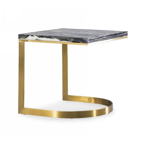 Gallery - Modrest Greely - Glam Black and Gold Marble End Table