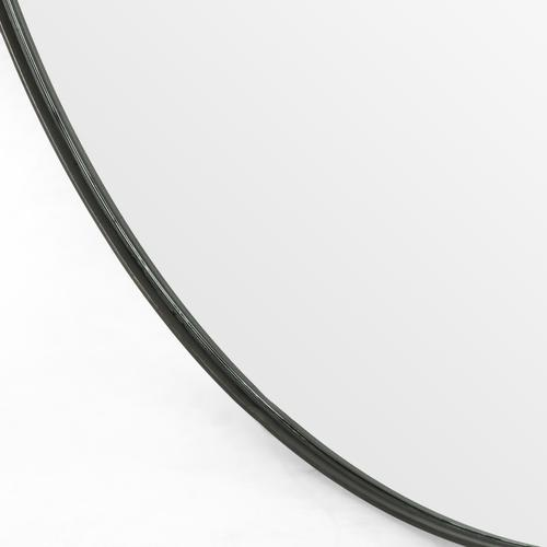 Large Size Rustic Black Finish Bellvue Round Mirror