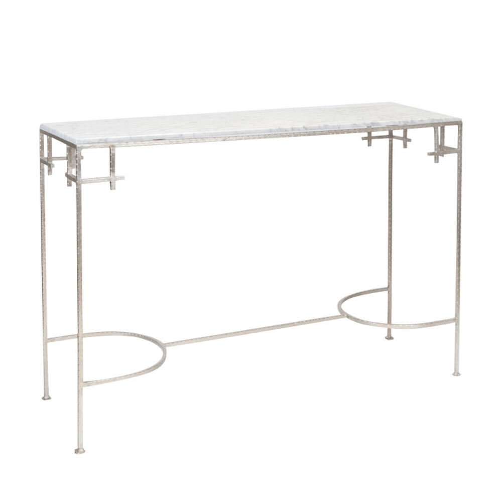 Hammered Silver Leaf Console With White Marble Top.