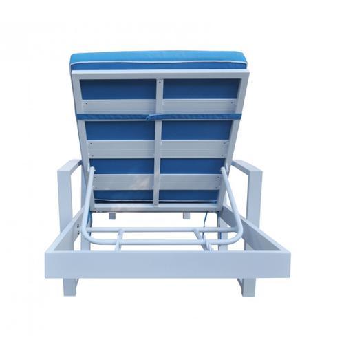 VIG Furniture - Renava Tampa Outdoor Blue & White Sun Bed & End Table Set