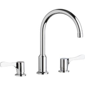 "Elkay 8"" Centerset Concealed Deck Mount Faucet with Arc Spout and 4"" Lever Handles Chrome Product Image"