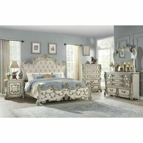 ACME Braylee Queen Bed - 27180Q - Fabric & Antique White