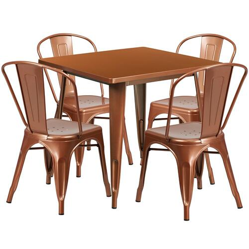 Alamont Furniture - 31.5'' Square Copper Metal Indoor-Outdoor Table Set with 4 Stack Chairs