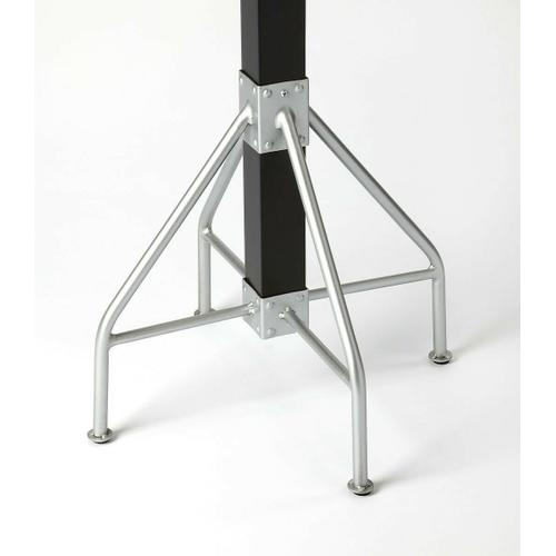 Butler Specialty Company - This rustic contemporary coat rack is an ideal addition in any entryway, den or office space to hang hats, jackets, umbrellas, or in a bathroom for towels and robes. It features 2 tiers of silver finished iron hooks and a matching base with a solid mango wood post finished in black.