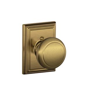 Andover Knob with Addison trim Non-turning Lock - Antique Brass Product Image