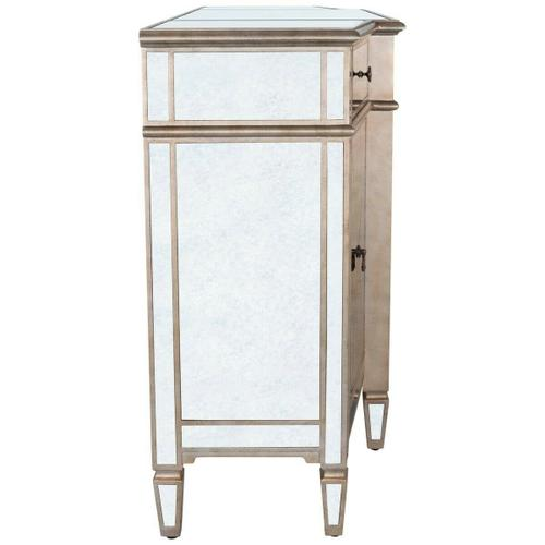 Butler Specialty Company - Plenty of storage! Trimmed in antique pewter and crafted from Birch Wood solids, this stunning mirrored buffet is sure to get attention!