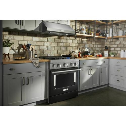 KitchenAid Canada - KitchenAid® 30'' Smart Commercial-Style Dual Fuel Range with 4 Burners - Imperial Black