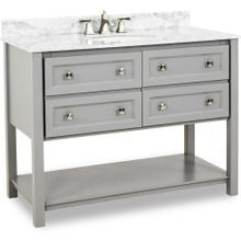"""48"""" Grey vanity with Satin Nickel hardware Shaker style, open bottom shelf, and preassembled Carrara Marble top and oval bowl"""