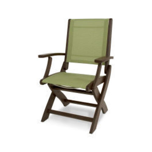 Polywood Furnishings - Coastal Folding Chair in Mahogany / Kiwi Sling