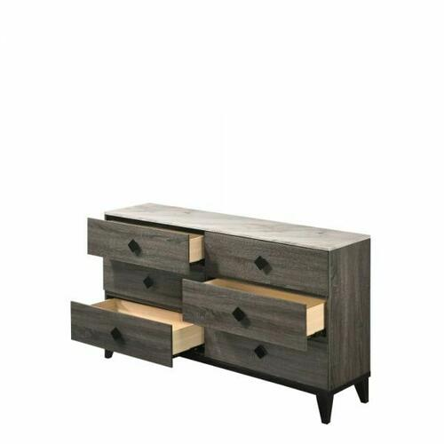 ACME Avantika Dresser - 27675 - Transitional - Veneer (Foil), MDF, PB - Faux Marble and Rustic Gray Oak