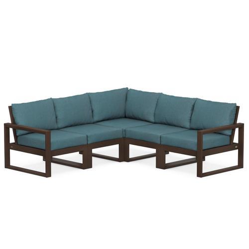 Polywood Furnishings - EDGE 5-Piece Modular Deep Seating Set in Mahogany / Ocean Teal